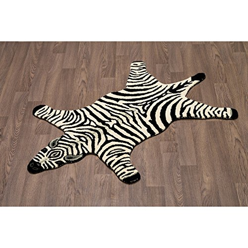3' x 5' White Black Stripe Zebra Skin Shape Area Rug, Wool Cotton Animal Wild Africa Safari Lively Wilderness Charming Quality Unique Majestic, Indoor Living Room Bedroom Accent Carpet by AM