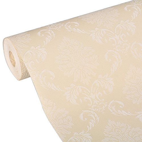 PaPafix Wallpaper European Vintage Luxury Damask Wall Paper PVC Embossed Textured Wallpaper Roll for Home Design and Room Decoration (Yellow)