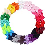 CÉLLOT 40pcs 3.5' Pinwheel Bow Grosgrain Ribbon Hair Bows Clips for Baby Girls Toddlers Kids in Pairs