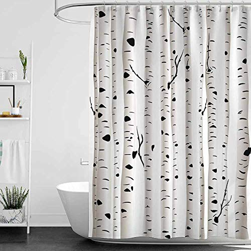 SKDSArts Shower Curtains Lilac Birch Tree,Forest Seasonal Nature