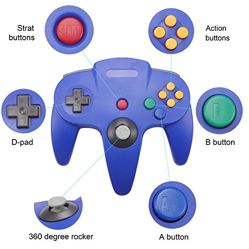 Joxde 1 Pack Upgraded Joystick Classic Wired Controller for N64 Gamepad Console (Blue2) by Joxde (Image #1)
