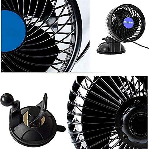 Ventilador de coche de 4.5 pulgadas potente y silencioso aire acondicionado ventilador de refrigeraci/ón de 12 V con ventosa de velocidad variable giratorio