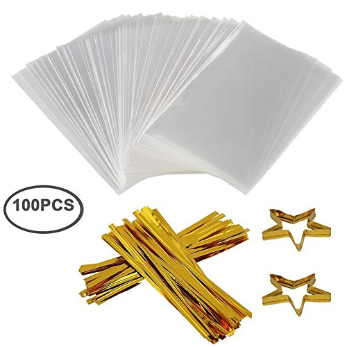 Clear Treat Bags 100 PCS Cellophane Bags Party Favor Bags with 100 PCS Metallic Twist Ties for Kids Birthday Candy Popcorn Gift Cookie Small (4''by 6'') (Small Cello Bags)