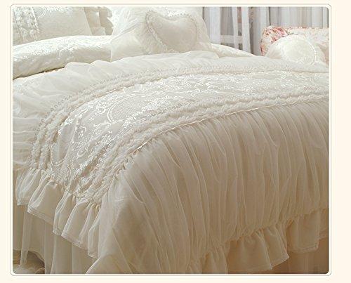 Sisbay Delicate Satin Jacquard Luxury Wedding Bedding,royal Princess Elegant Duvet Cover Cream Pink,girls Korean Lace Bed Skirt,queen King Full,8pcs