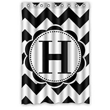 bathroom decor black and white chevron monogram polyester fabric waterproof shower curtains 48u0026quot