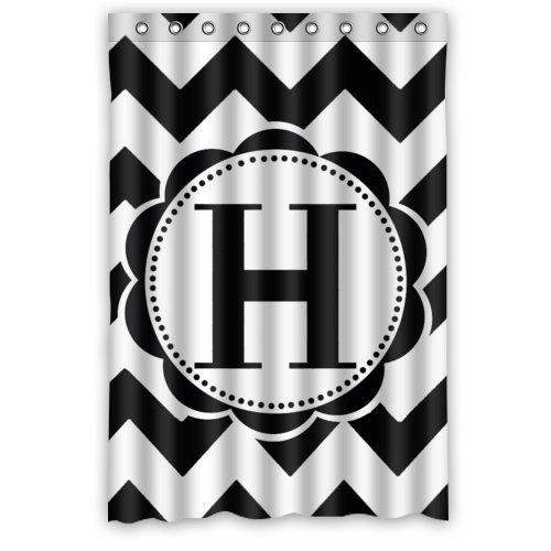 "Bathroom decor - Black and white Chevron Monogram Polyester Fabric Waterproof Shower Curtains 48"" x 72"""