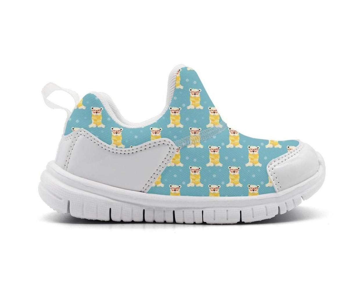 ONEYUAN Children Polar Bear with Glasses Kid Casual Lightweight Sport Shoes Sneakers Walking Athletic Shoes