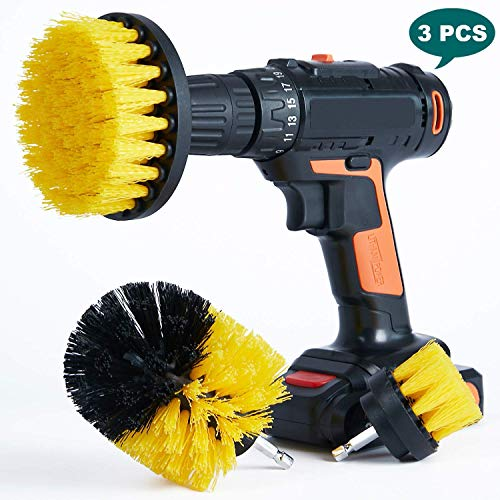 YIHATA Drill Cleaning Brush Attachments 3pc Scrubber Set, Multi-Purpose Shower Brushes Sets, Power Scrubbers Great for for Clean Fiberglass Tub, Toilet, Kitchen, Sink, Pool Tile, Flooring, Brick etc.