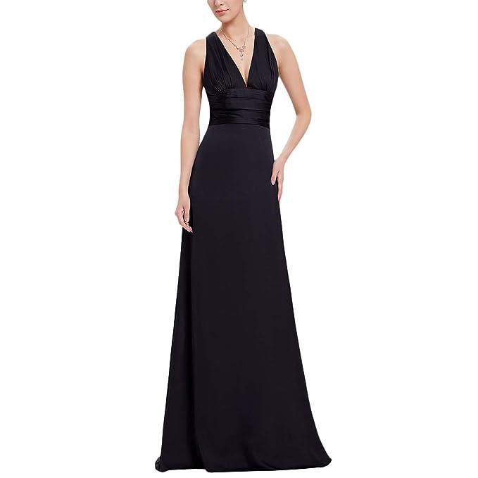 ef2934d2372 IBTOM CASTLE Women s Stain Long Evening Dress Deep V Neck Crisscross Strap  Party Prom Gowns Sleeveless