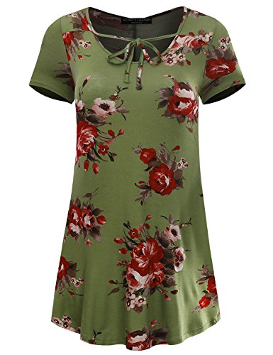 AFY Women's Short Sleeve Ribbon Tie Front Floral Dress Made in USA Sage 7540 XXX-Large (Floral Sage Chiffon Dress)