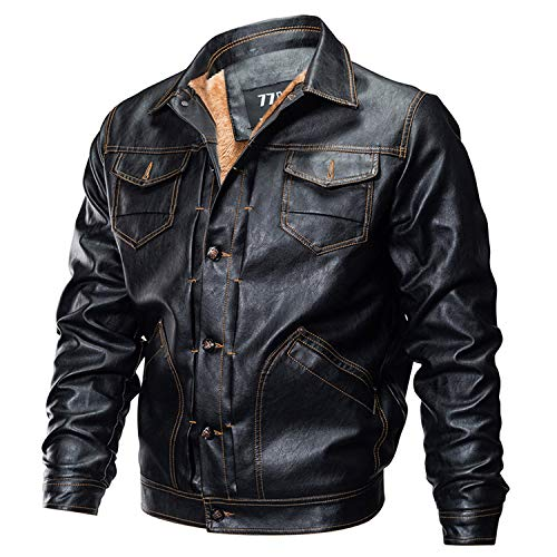 87 clothes Winter PU Leather Jacket Men Tactical Army Bomber Jacket Warm Military Pilot Coat Thick Wool Liner Motorcycle Jacket,Black,XL