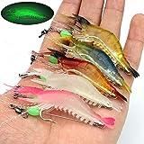 【Happy Shopping Day】 OriGlam 5pcs Soft Luminous Shrimp Lure Set, 5 Colors Shrimp Bait Shrimp Lures Fishing Bait with Hooks Be