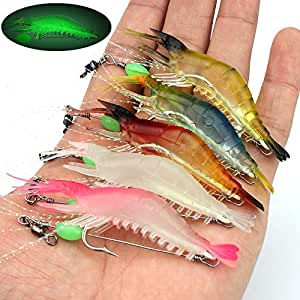 Nobranded Soft Luminous Shrimp Lure Set Artificial Silicone Soft Bait Fishing Lures with Hook Fishing Tackle for Freshwater Saltwater 9cm 4-12PCS