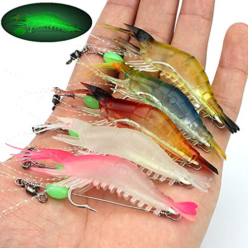 (OriGlam 【Happy Shopping Day】 5pcs Soft Luminous Shrimp Lure Set, 5 Colors Shrimp Bait Shrimp Lures Fishing Bait with Hooks Beads Fishing Tackles for Freshwater Saltwater Bass Trout Catfish Salmon)