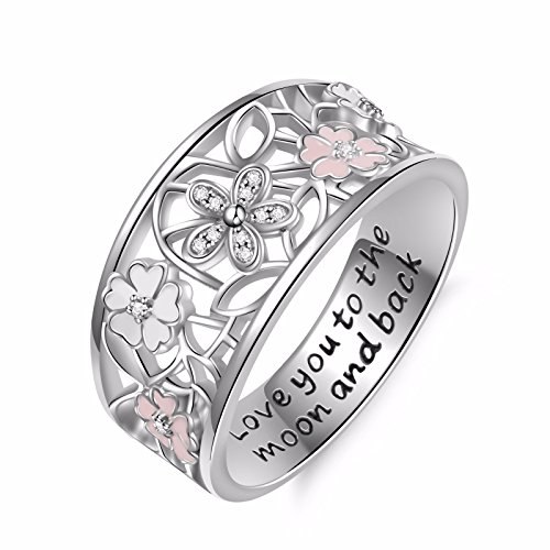 - Angemiel 925 Sterling Silver Cubic Zirconia Flower Promise Ring for Women Jewelry Family Friend Love