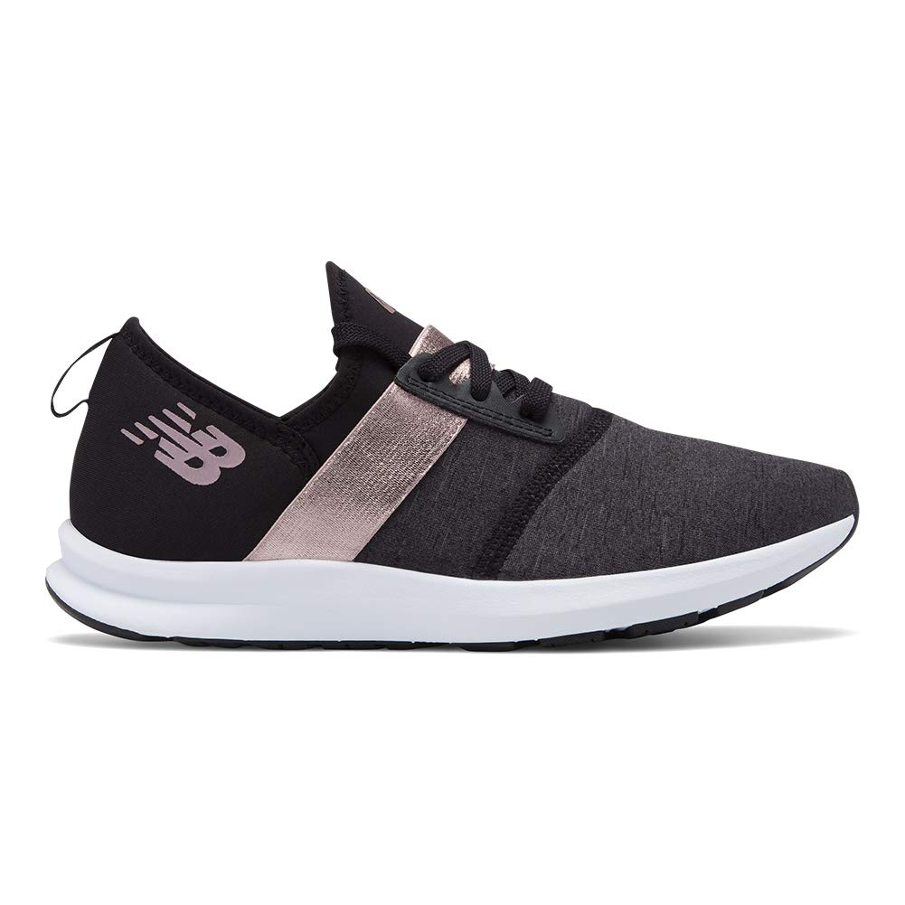 New Balance Women's Nergize V1 FuelCore Sneaker,Black with Rose Gold,7 B US