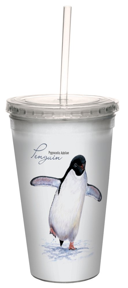 Adelie Penguin Double-Walled Cool Travel Cup with Reusable Straw, 16-Ounce - Jeremy Paul - Gift for Animal Lovers - Tree-Free Greetings 35717