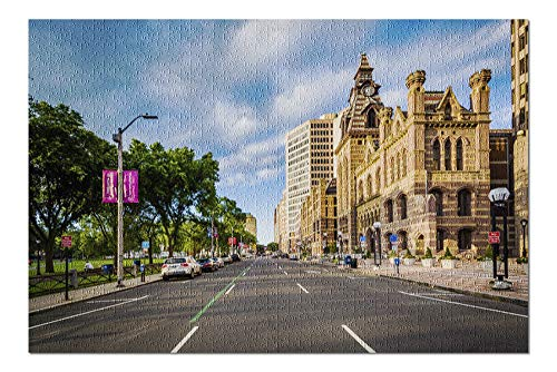 New Haven, Connecticut - Church Street in Downtown - Photography A-95790 95790 (20x30 Premium 1000 Piece Jigsaw Puzzle, Made in USA!)