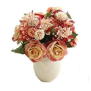 Celine lin 1 Bunch 8 Pcs Artificial Rose Dahlia Daisy Flower Bouquet Bride Bridesmaid Holding Flowers For Home Hotel Office Wedding Party Garden Craft Art D¨¦cor,Red&Orange 16