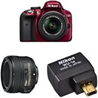 Nikon D3300 DX-Format DSLR Camera (Red) with 18-55mm + 50mm Lenses Wi-Fi Bundle