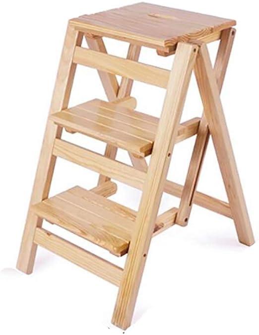Escalera de Madera 5 Pasos Plegables Plegables sillas para la Cocina de la Biblioteca o el jard/ín casero Capacidad 150kg