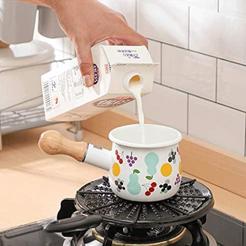 SMEJS Non Stick Pan, poignée en bois massif Pan, Pan émail lait, chauffe-boissons, facile à nettoyer