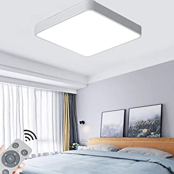 COOSNUG 48W L/ámpara de techo LED Luz de techo regulable L/ámpara de sala de estar moderna L/ámpara de panel de cocina de dormitorio con control remoto