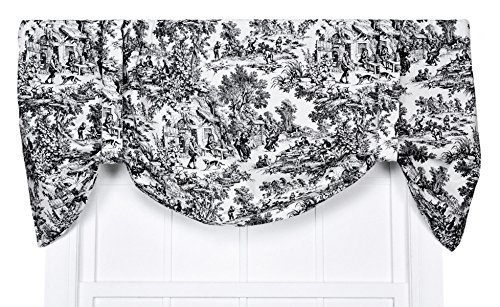 Victoria Park Toile Tie-Up Valence Window Curtain, Black by Ellis Curtain