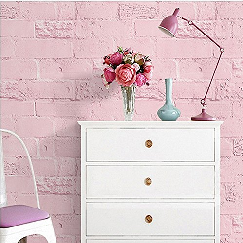 Blooming Wall Paitned Brick Pink Peel and Stick Wallpaper Decor