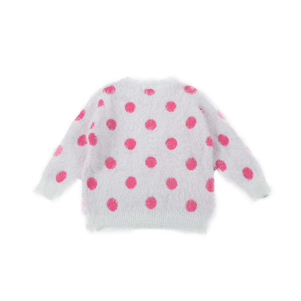 Jojobaby Infant Baby Girl Dot Casual Knit Cotton-padded Loose Fluffy Fuzzy Jumper Sweater Candy Color
