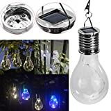 Leoy88 Waterproof Solar Energy Rotatable Outdoor Garden Camping Gear Hanging LED Light Lamp Bulb (Clear)