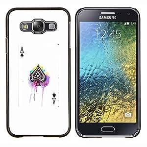 EJOOY---Cubierta de la caja de protección para la piel dura ** Samsung Galaxy E5 E500 ** --as de espadas juego de póquer tarjeta blanca negro