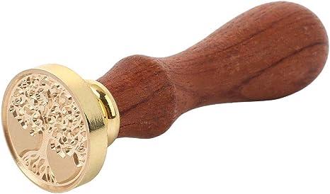 Haihuic Albero della Vita Timbro Sigillo di Cera con Manico in Legno per inviti Buste da Lettera Matrimoni, chiocciole Firma Pacchetto Vino Feste