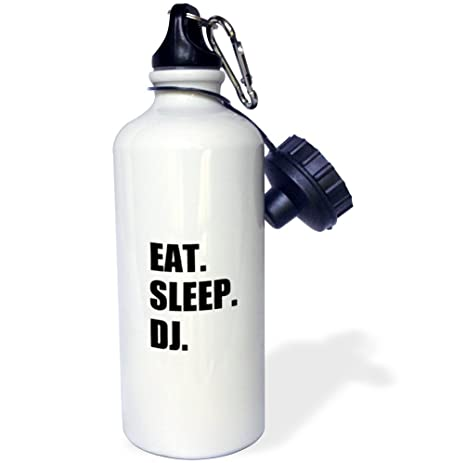 Music Deejay Black Text Gifts Sports Water Bottle 21 oz Multicolor Passionate About Djing 3dRose wb/_180396/_1 Eat Sleep Dj