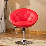 Roundhill Furniture Noas Contemporary Round Tufted Back Tilt Swiviel Accent Chair, Red