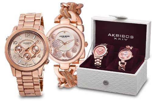 Akribos XXIV Rose Gold Tone Stainless Steel Watch Set AK676RG
