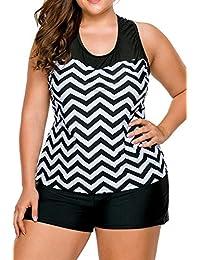 WoldGirls Women's Plus Size 2pcs Zigzag Print Mesh Tankini Swimsuit