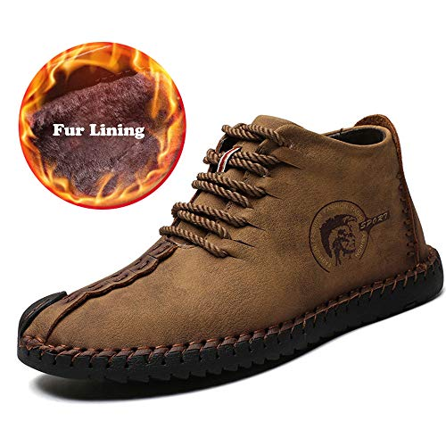- UPIShi Mens Suede Fur Lining Winter Lace-up Ankle Handmade Flats Driving Oxford Leather High Top Shoes Khaki 44