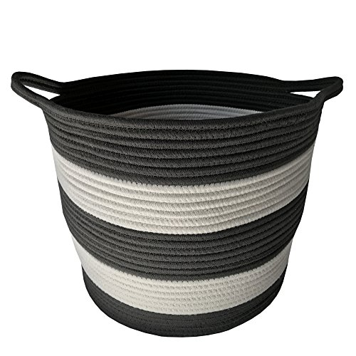 M2 Home Accessories Cotton Rope Storage Basket with Handles – Woven Baskets for Kids' Toys – Laundry Baskets Nursery Hamper - 13