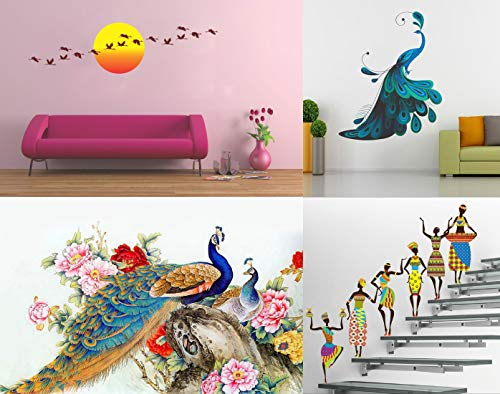 SRG India Set of 4 Wall Sticker Royal Peacock Modern Peacock Sunrise with Flying Bird Tribal Lady
