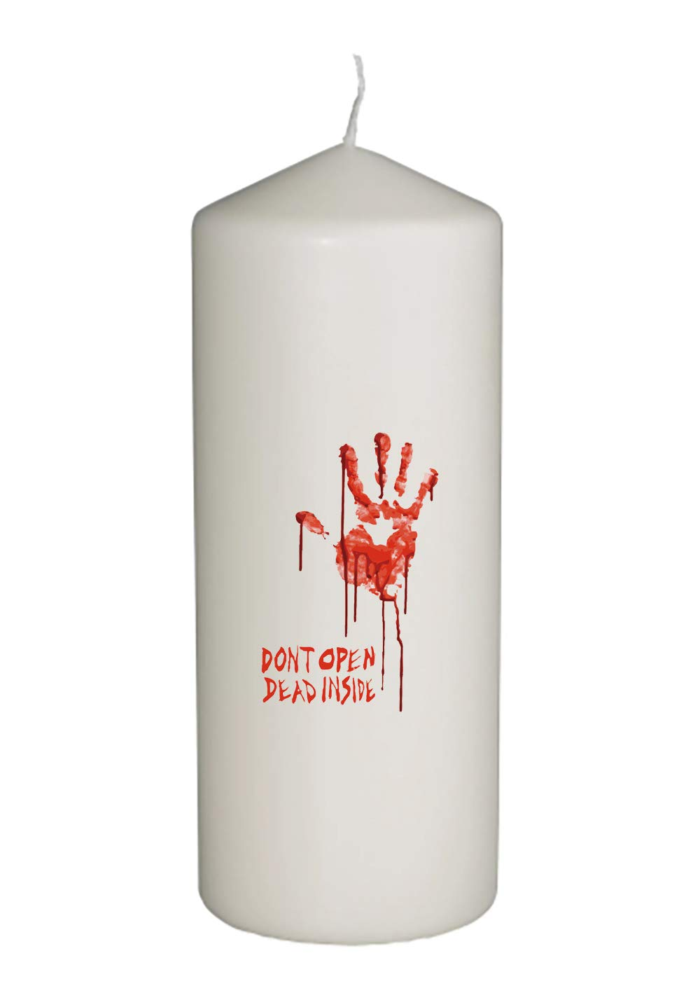 Bloody Dead Zombie Hand Don't Open Dead Inside in Full Color Unity Candle - Wedding, Baptism, Funeral, Special Event Decoration (6 inches Tall)