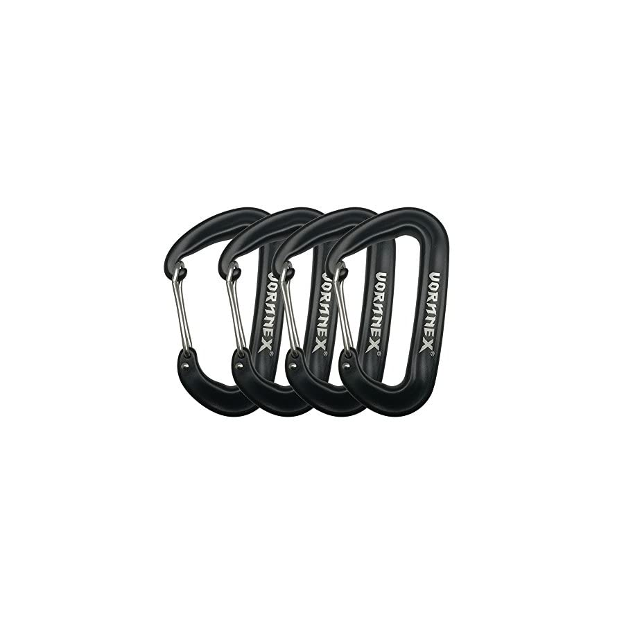 VORNNEX 12KN Aluminum Replacement Carabiner 4 Pack for Hammocks, Clipping On Camping Accessories, Keychains and More Black
