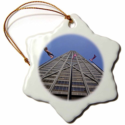3dRose orn_90157_1 Illinois, Chicago, Hancock Building, American Flag-Us14 Bja0026-Jaynes Gallery-Snowflake Ornament, 3-Inch, Porcelain