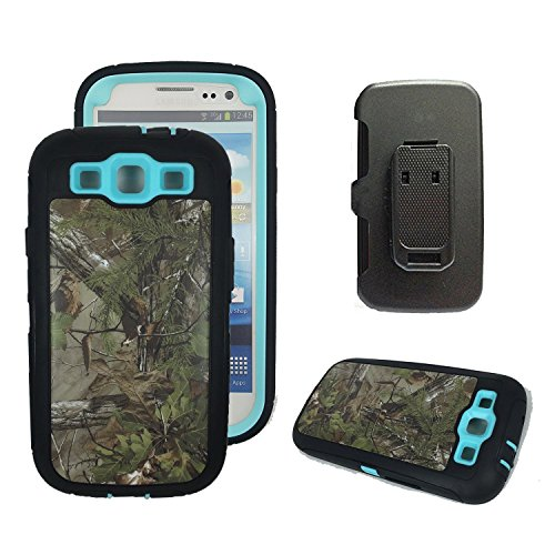 Galaxy S3 Holster Case, Harsel® Defender Series Heavy Duty Tree Camo Full Body Shockproof Hybrid Protective Military with Belt Clip Built-in Screen Protector Case Cover for Galaxy s3 - Forest Blue