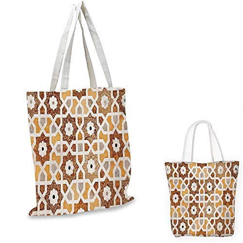Antique canvas shoulder bag Detail of Inlay and Geometric Carvings Asian Taj Mahal Tomb Architecture canvas lunch bag Cream Orange Brown. 15