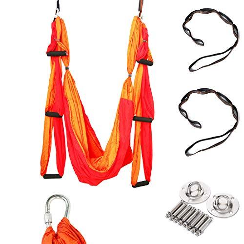 Geelife Aerial Yoga Trapeze Kit Body Hammock Yoga Swing Rigging for Antigravity Yoga Sling Inversion Hanging Equipment (Red)