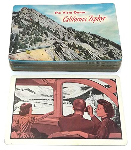Anticuria Vintage Deck of Playing Cards with Vista-Dome California Zephyr Train Graphics