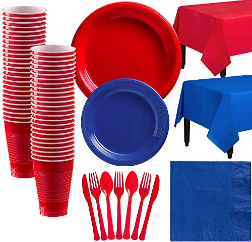 Party City Red and Royal Blue Plastic Tableware Kit for 50 Guests, 487 Pieces, Includes Plates, Napkins, and Utensils -