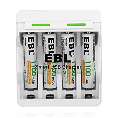 EBL Smart USB AA AAA Battery Charger and 4 Packs Ni-MH 1100mAh AAA Rechargeable Batteries