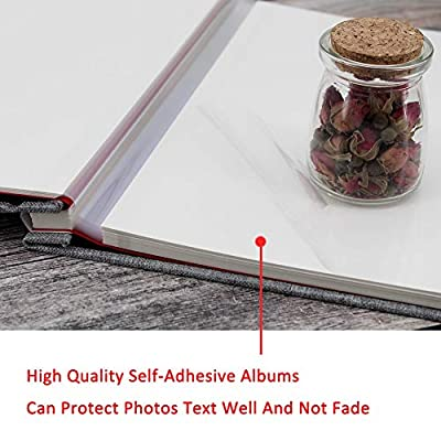 "WonderFour Photo Album Self Adhesive, Magnetic Photo Albums for Wedding/Family, Linen Hardcover 40 Sticky Pages Length 11"" x 10.6"", Scrapbook Album and DIY Accessories Kits"